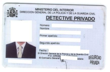 Tarjeta de Identidad Profesional Detective Privado