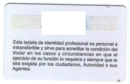 Tarjeta de Identidad Profesional Detective Privado -Reverso-